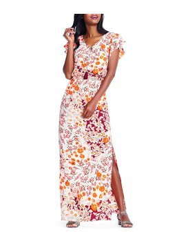Floral Printed Blouson Maxi Dress by Adrianna Papell