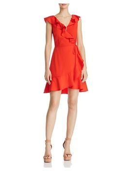 Ruffled V Back Faux Wrap Dress by Joa