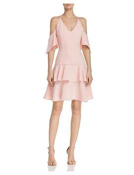 Flippy Dot Trimmed Cold Shoulder Mini Dress   100 Percents Exclusive by Aqua