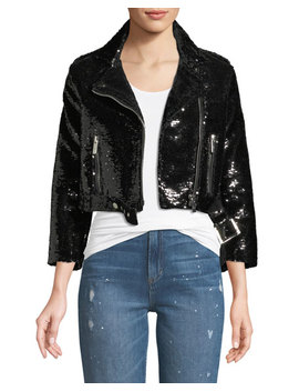 Sequined Cropped Biker Jacket by Nour Hammour