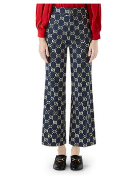 Flared Leg Double G Crop Cotton Jersey Pants by Gucci