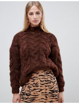 Mango Oversized Cable Knit In Chocolate In Brown by Mango