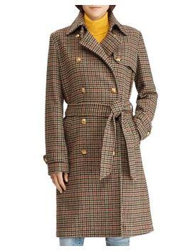Houndstooth Wool Trench Coat   100 Percents Exclusive by Lauren Ralph Lauren