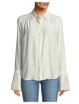 Pintucked Cuffs Button Front Long Sleeve Dotted Silk Blouse by Frame