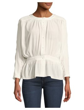 Gathered Silk Button Front Top by Frame