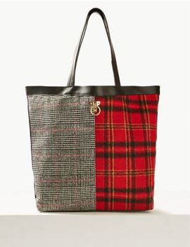 Checked Shopper Bag by Marks & Spencer
