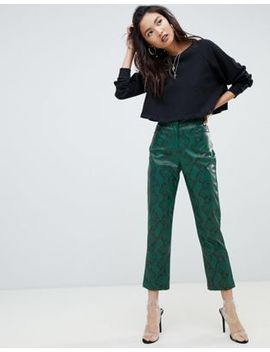 Na Kd Faux Leather Snake Print Trousers In Green by Na Kd