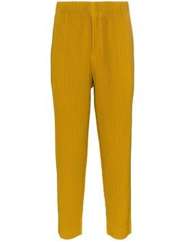 Homme Plissé Issey Miyakeyellow Straight Leg Trousershome Men Homme Plissé Issey Miyake Clothing Loose Fit Pants by Homme Plissé Issey Miyake