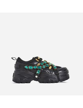 Fever Gem Embellished Trainers In Black Faux Leather by Ego
