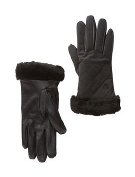 Quilted Genuine Shearling & Leather Tech Gloves by Ugg