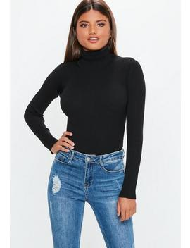 Black Roll Neck Long Sleeve Knitted Bodysuit by Missguided