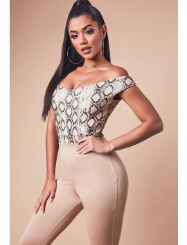 Nude Snake Print Bardot Bodysuit by Missguided
