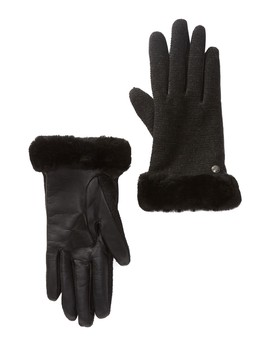 Shorty Smart Fabric Faux Fur Lined Genuine Shearling Cuff Gloves by Ugg