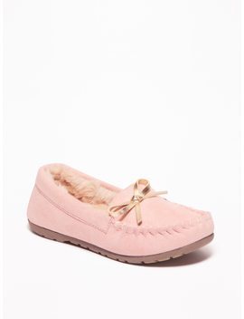 Sueded Faux Fur Lined Moccasins For Toddler Girls by Old Navy