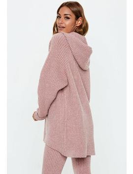 Pink Ribbed Knitted Hooded Jumper by Missguided