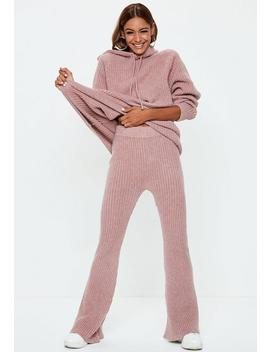 Pink Ribbed Knitted Co Ord Trousers by Missguided
