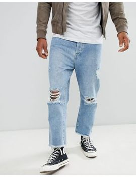 Brave Soul Loose Fit Cropped Ripped Jeans by Jeans