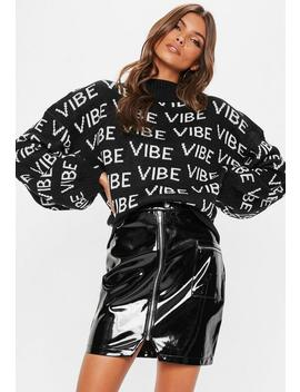 Black High Neck Vibes Slogan Knitted Jumper by Missguided