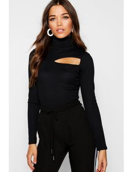 Roll Neck Rib Knit Cut Out Top by Boohoo
