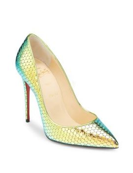 Pigalle 100 Textured Mirror Leather Pumps by Christian Louboutin