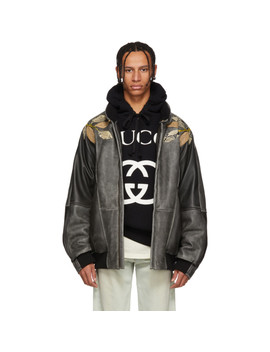 Black Leather Appliqué Bomber Jacket by Gucci
