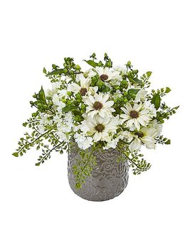 White Daisy Bush Silk Arrangement by Nearly Natural