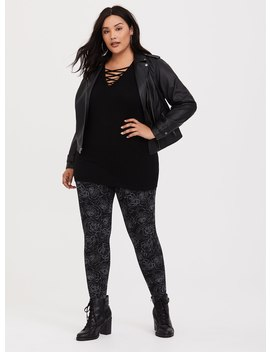 Black Rose Knit Legging by Torrid