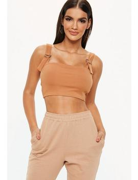 Tan Strappy Straight Neck Ribbed Crop Top by Missguided