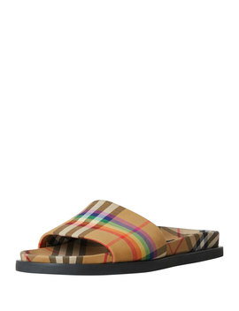 Ashmore Low Top Rainbow Check Slide Sandal by Burberry