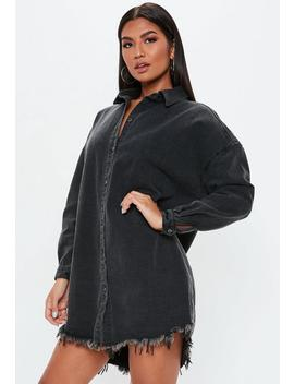 Black Oversized Denim Shirt Dress by Missguided