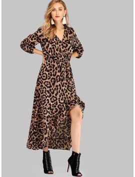 Leopard Ruffle Asymmetrical Dress by Shein
