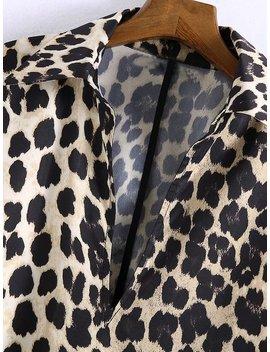 Leopard Print Shirt Dress by Shein