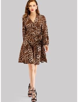 Leopard Print Self Tie Dress by Shein