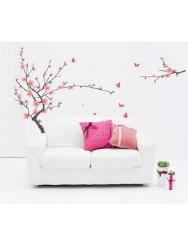 Pastel Pink Cherry Flower Tree Wall Stickers Decals Women Home Salon Bedroom Dining Room Decor Spring Plum Blossom Wall Papers by Colormood