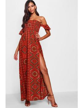 Yoselin Off The Shoulder Shirred Maxi Dress by Boohoo