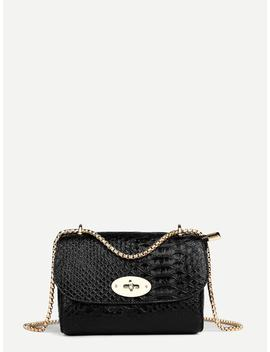 Croc Embossed Chain Shoulder Bag by Shein