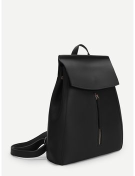 Zipper Front Pu Backpack by Shein