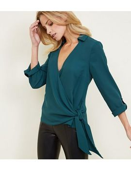 Dark Green Tie Side Collared Wrap Top by New Look