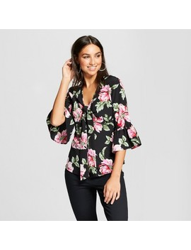 Women's 3/4 Sleeve Floral Tie Front Blouse   Alison Andrews Black by Alison Andrews