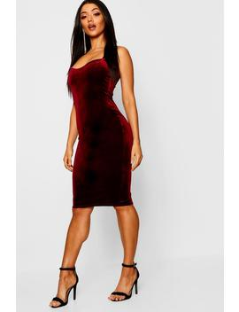 Velvet Strappy Midi Dress by Boohoo