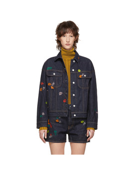 Indigo Blå Konst Denim Lamp Chewing Gum Jacket by Acne Studios