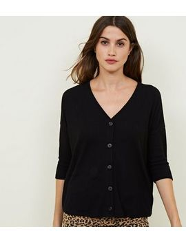 Black Ribbed Fine Knit Button Front Top by New Look