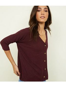 Burgundy Ribbed Fine Knit Button Front Top by New Look