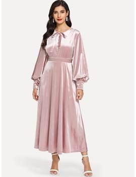 Tie Neck Bishop Sleeve Silky Dress by Shein
