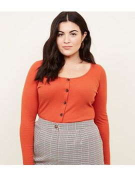 Curves Orange Ribbed Button Front Top by New Look