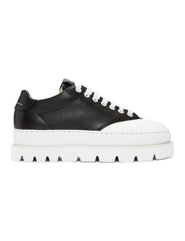 Black Leather Platform Sneakers by Mm6 Maison Margiela