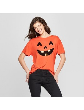 Women's Short Sleeve Jack O'lantern Graphic T Shirt   Modern Lux (Juniors') Orange by Modern Lux