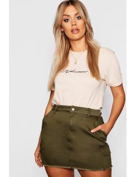 Plus Utility Pocket Denim Skirt by Boohoo