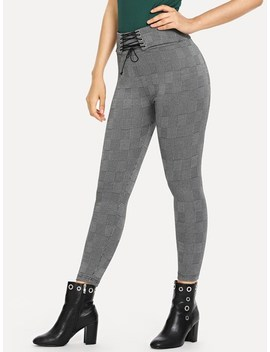 Lace Up Waist Plaid Leggings by Shein
