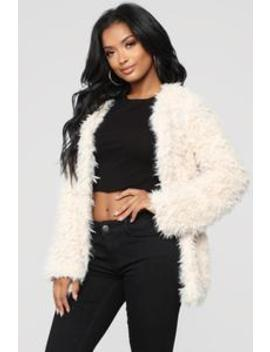 Attention Seeking Fuzzy Jacket   Taupe by Fashion Nova